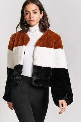 Forever 21 Faux Fur Colorblock Jacket