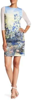 Amelia Mesh Sleeve Floral Print Dress