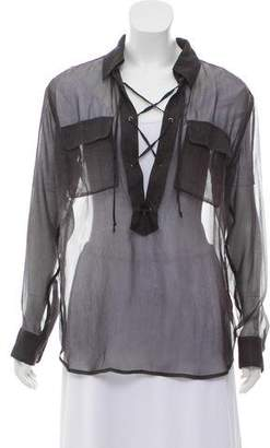 Equipment Silk Lace-Up Top