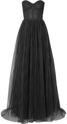 Monique Lhuillier Strapless Ruched Swiss-dot Tulle Gown - Black