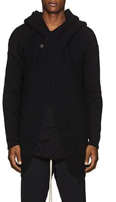 Rick Owens Men's Rib-Knit Wool Hooded Cardigan - Black