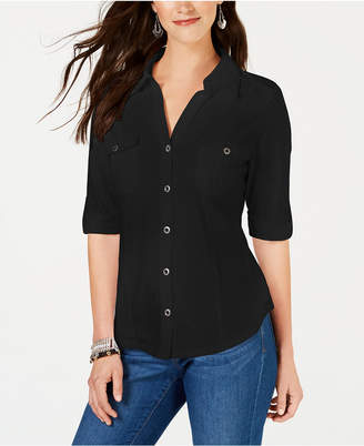 Style&Co. Style & Co Roll-Tab Metal-Button Front Shirt