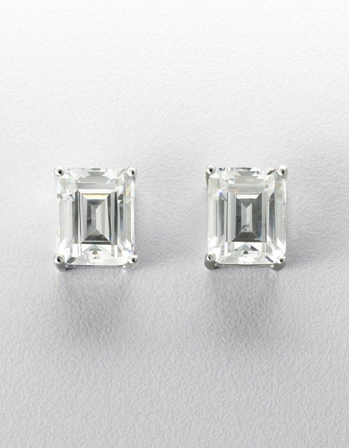 Crislu Platinum-Plated Emerald-Cut Cubic Zirconia Stud Earrings