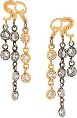 Sonia Rykiel logo crystal drop earrings