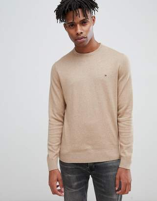 Tommy Hilfiger pima cotton cashmere knit crewneck sweater flag logo in beige marl