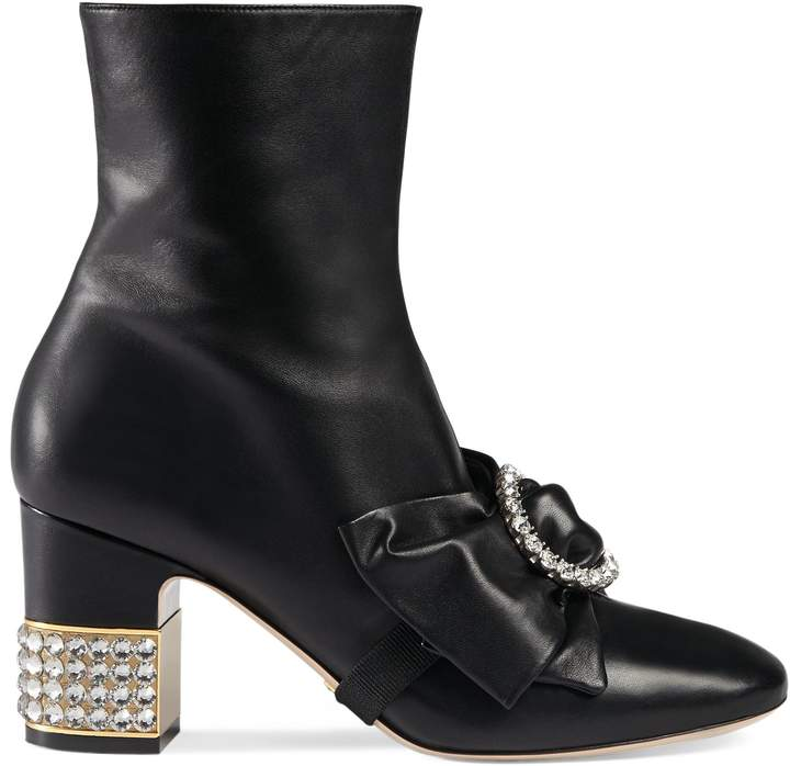Leather ankle boot with removable leather bow
