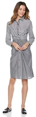 Essentialist Women's Mixed Stripe Button Down Twist Waist Dress
