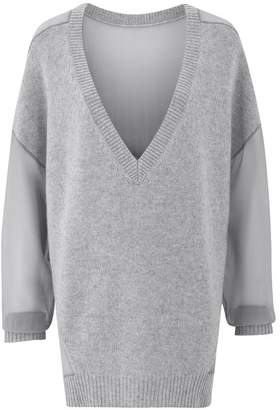 Amanda Wakeley Grey Cashmere Chiffon Sweater