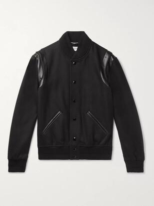 Saint Laurent Teddy Leather-Trimmed Wool Bomber Jacket
