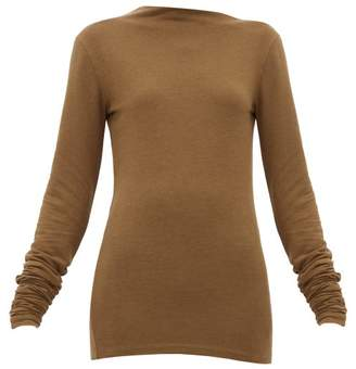 Lemaire Asymmetric Neck Stretch Jersey Sweater - Womens - Dark Brown