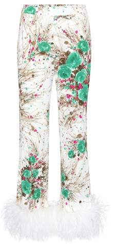 Prada Exclusive to mytheresa.com – feather-trimmed printed silk trousers