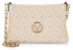 Mario Valentino Studded Chevron Quilted Leather Crossbody Bag