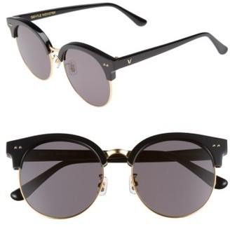 Women's Gentle Monster Moon Cut 54Mm Rounded Sunglasses - Black $249 thestylecure.com