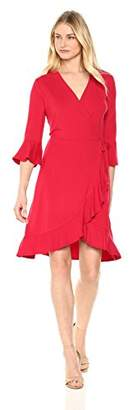 Lark & Ro Women's Jersey Wrap Dress with Ruffle Hem and Sleeves