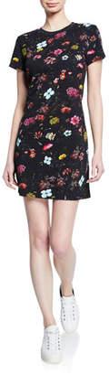 Pam & Gela Floral-Print Short-Sleeve Mini T-Shirt Dress