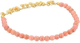 Satya Jewelry Rhodonite Gold Plated Petals Stretch Bracelet