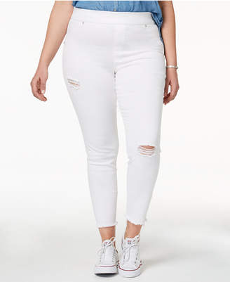 Hue Women's Plus Size Original Denim Ripped Knee , Created for Macy's
