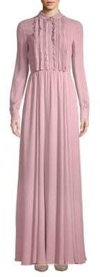 Valentino Pleated Silk Floor-Length Dress