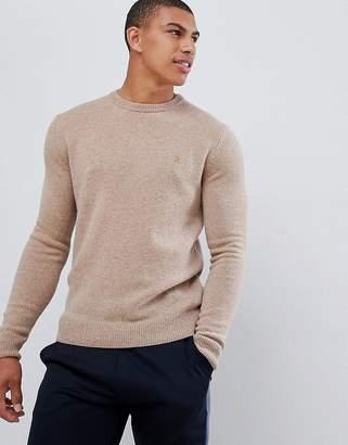 Farah Rosecroft crew neck sweater in camel