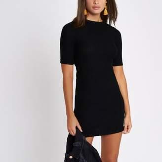 River Island Womens Black mix rib short sleeve bodycon dress