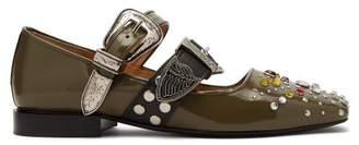 Toga - Crystal Embellished Patent Leather Flats - Womens - Khaki