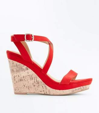 New Look Red Suedette Strappy Cork Wedges