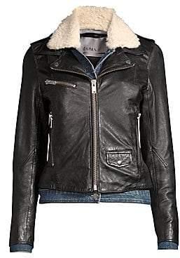 Doma Women's Denim& Faux Shearling Leather Moto Jacket