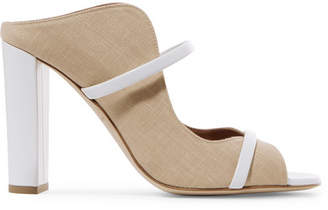 Malone Souliers Norah 100 Leather-trimmed Linen Mules - Neutral