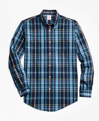 Brooks Brothers Madison Fit Slub Cotton Dark-Blue Plaid Sport Shirt