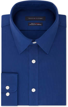 Tommy Hilfiger Men's Athletic Fit Performance Stretch Th Flex Collar Dress Shirt