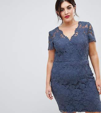 Chi Chi London Plus wrap front lace pencil dress