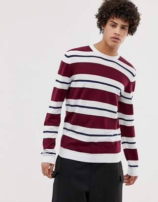 Asos DESIGN Sweater With Burgundy And White Stripes