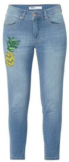 Loose Fit Jeans mit Ananas-Stickerei
