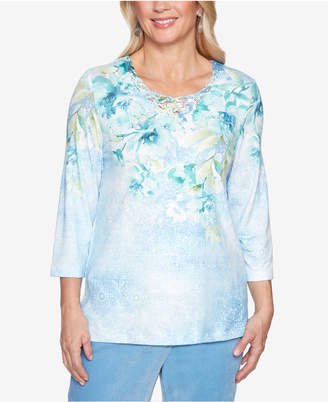 Alfred Dunner Simply Irresistible Embellished 3/4-Sleeve Lace-Detail Top