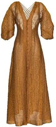 Cult Gaia Tilda deep V-neck buttoned silk blend dress