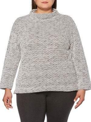 Rafaella Plus Chevron Jacquard Mockneck Sweater