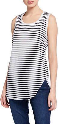 Frank And Eileen Striped Scoop-Neck Relaxed Asymmetric Tank