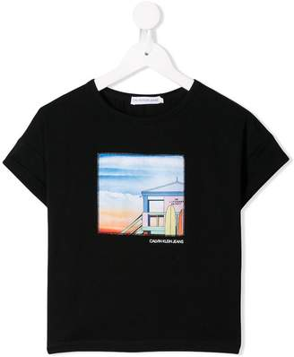Calvin Klein Kids beach patch T-shirt