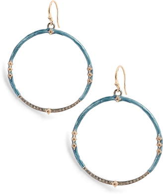 Armenta New World Tsunami Enamel Diamond Hoop Earrings