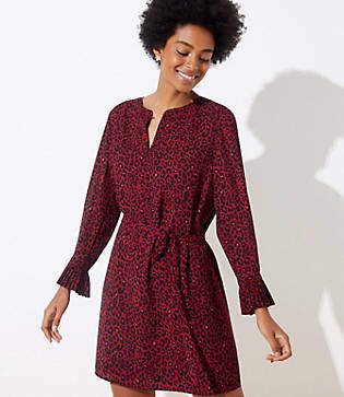 LOFT Leopard Print Tie Waist Dress
