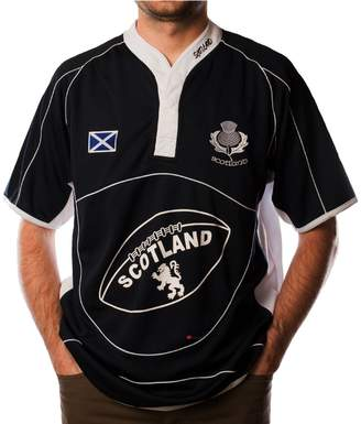 iluv Scotland Rugby Shirt Short Sleeve Navy White Cool Collar Saltire Badge 3X-Large