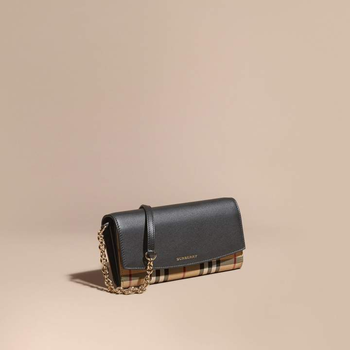 Burberry Horseferry Check and Leather Wallet with Chain