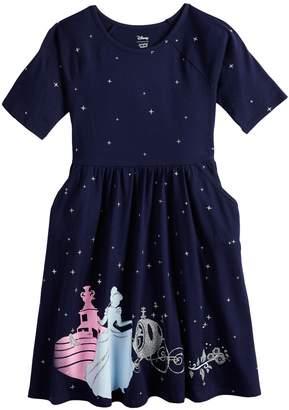 Princess Girls Disneyjumping Beans Disney's Cinderella Girls 4-12 Glittery Skater Dress by Jumping Beans