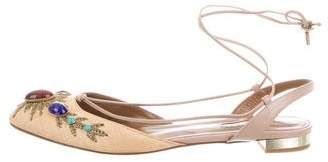 Aquazzura Embellished Lace-Up Flats