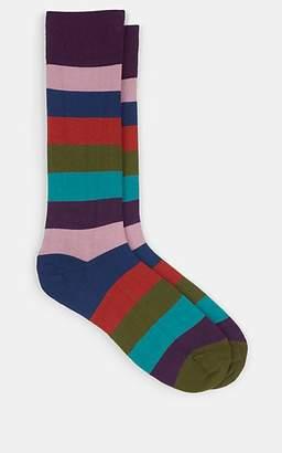 Paul Smith Men's Hammer Striped Stretch-Cotton Mid-Calf Socks - Pink