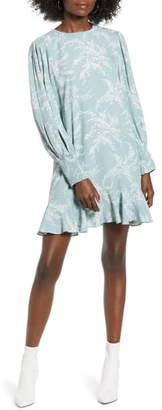 ENGLISH FACTORY Flounce Hem Long Sleeve Dress