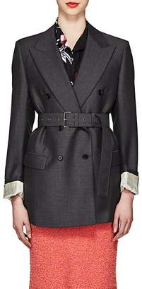 Prada Women's Mohair-Wool Belted Double-Breasted Blazer