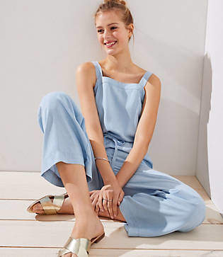 LOFT Tall Chambray Apron Jumpsuit