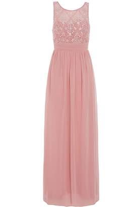 Quiz Rose Pink Pearl Chiffon High Neck Dress