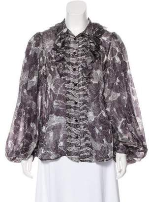 Just Cavalli Silk Printed Ruffle-Accented Button-Up Top